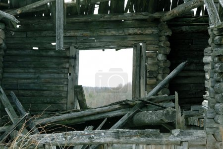 Old wooden destroyed house