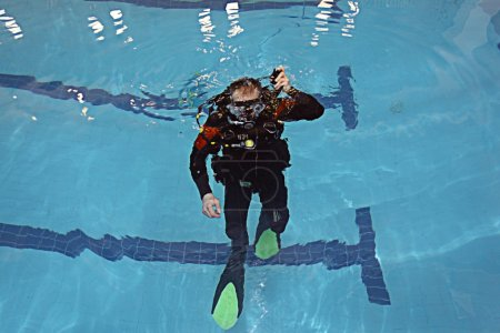 Diver in pool