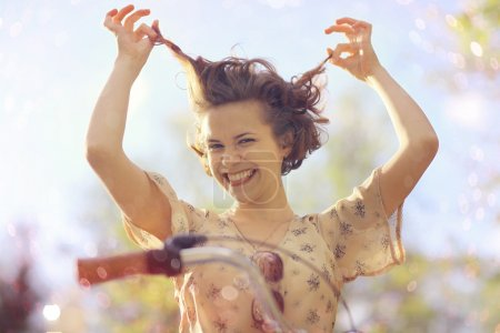 Funny Girl with bicycle