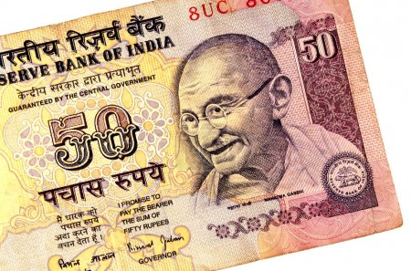 Gandhi on 50 rupees banknote