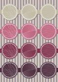 Pink and purple round sticker set