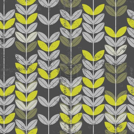 Illustration for Seamless pattern with abstract retro green leaves on branches on dark background with grunge touch - Royalty Free Image