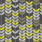 Seamless pattern with abstract retro green leaves on branches on dark background with grunge touch