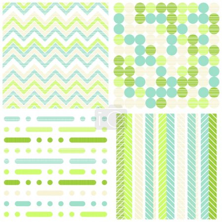 Set of seamless retro geometric paper patterns in green turquoise white and beige dots lines and chevron