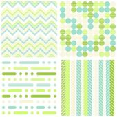 Set of seamless retro geometric paper patterns in green turquoise white and beige dots lines and chevron on light background