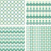 Set of seamless dotted retro geometric paper patterns in turquoise white and beige dots lines and chevron