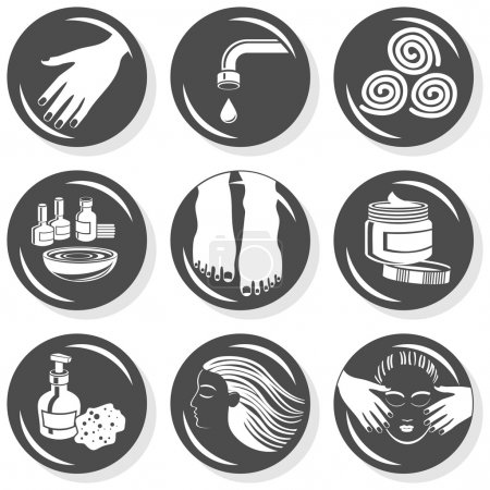 Illustration for Set of monochrome gray flat buttons with manicure pedicure hair treatment related icons - Royalty Free Image