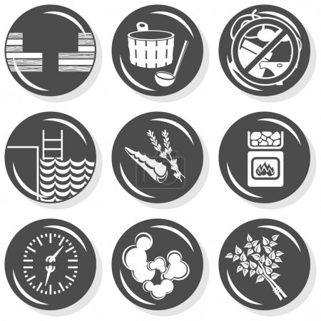 Illustration for Set of monochrome gray flat buttons with sauna spa aromatherapy relax related icons - Royalty Free Image