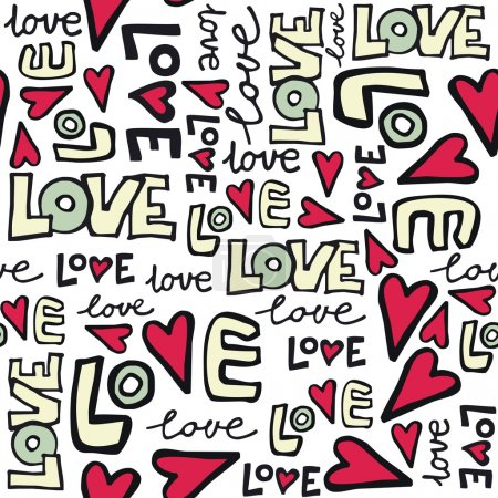 Illustration for Love retro colors graffiti style seamless pattern on white background - Royalty Free Image