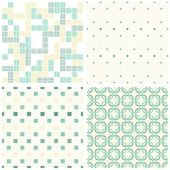 Turquoise white beige squares and dots retro traditional geometric seamless pattern set