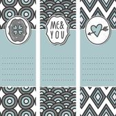 Valentines day love romantic cards in gray white and blue with heart clover me and you sign and pierced heart