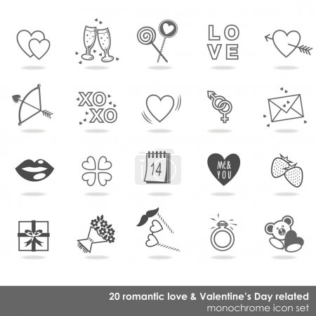 20 romantic love Valentine's Day related monochrome icon set isolated on white background