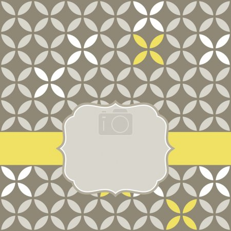 Illustration for Retro white beige yellow leaves shaped elements in rows on gray brown background abstract geometric background with rounded vintage blank label on yellow ribbon celebration card - Royalty Free Image