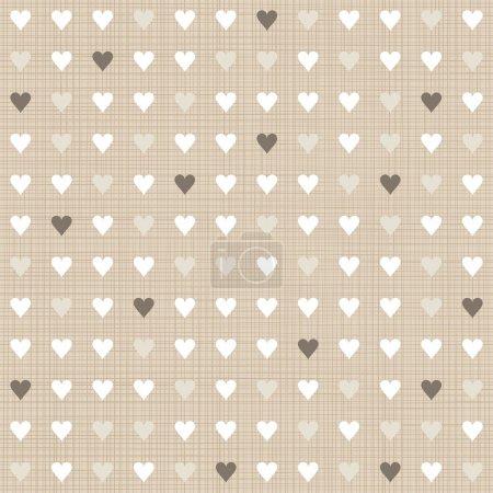 Delicate light little hearts regular geometric elements in rows on beige background seamless pattern