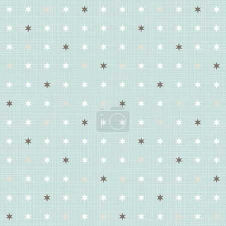 Illustration for Delicate light little stars regular geometric elements in rows on blue background seamless pattern - Royalty Free Image