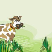 Happy eating cow free run on sunny summer day animal l farm life illustration on green background