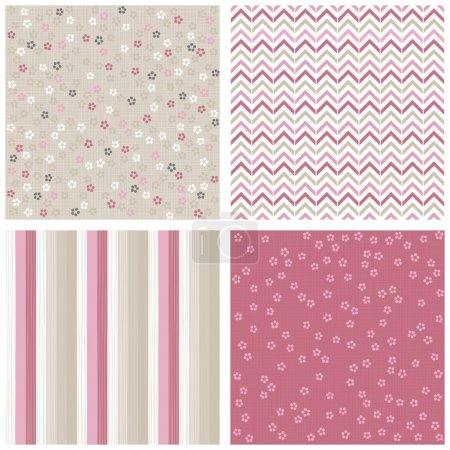 White pink gray blue little dotted flowers chevron stripes on light background romantic floral geometric seamless pattern set