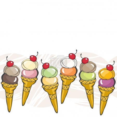 Ice cream balls different flavors in horns with red cherry dessert colorful sweet food seamles horizontal border on white background