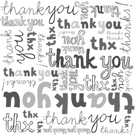 Illustration for Thank you gray black white hand written announce on white background graphic typographic seamless pattern - Royalty Free Image