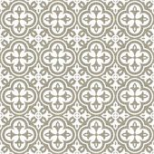 Retro white clover shaped elements in rows on gray brown background abstract geometric seamless pattern