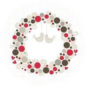 Abstract colorful season holiday decoration wreath made of dots and flower shapes with little hearts and birds elegant card centerpiece with blank place for your text isolated on white background