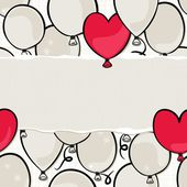 Flying colorful gray and red round and heart shaped balloons party time seamless pattern on white background with blank horizontal torn piece of paper with place for your text