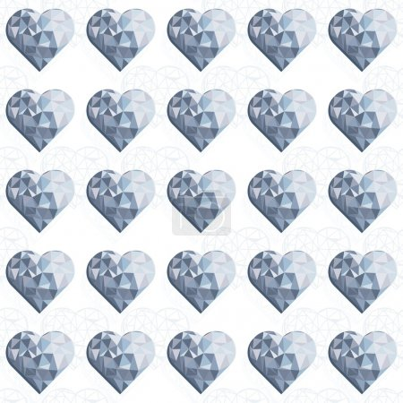 Illustration for Blue crystal diamond hearts in rows regular elements on white background love romantic valentines day seamless pattern - Royalty Free Image