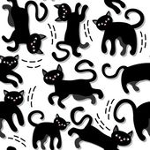 Black cats holiday seamless pattern on white background