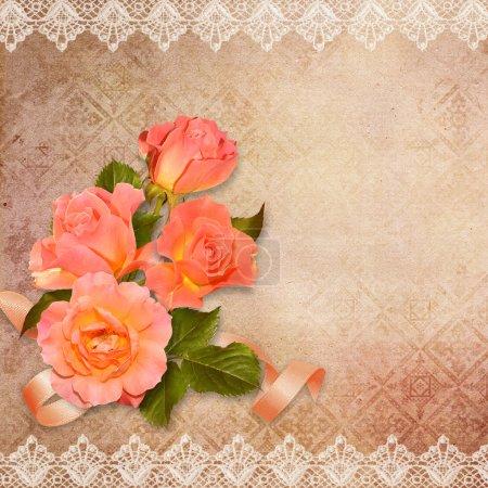 Photo pour Fond vintage avec des roses avec espace pour photo ou texte - image libre de droit