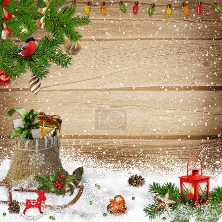 Photo pour Fond de salutation de Noël avec un endroit pour le texte ou la photo - image libre de droit