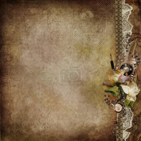 Photo pour Vintage shabby background with faded roses and retro décor with space for text or photo - image libre de droit