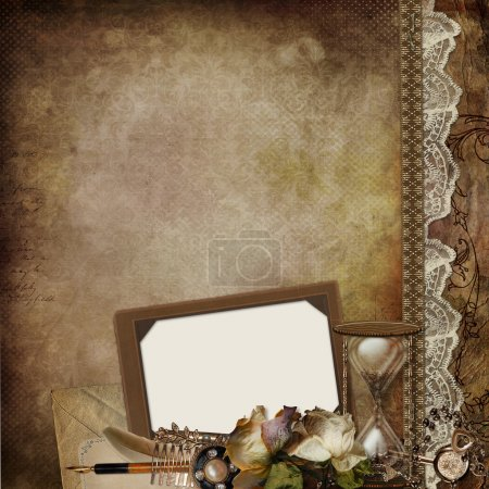 Photo pour Fond vintage avec cadre, roses fanées, sablier et décor rétro - image libre de droit