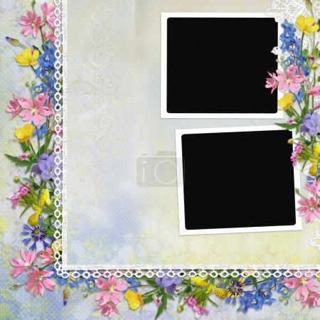Photo pour Bordure de fleurs, dentelle avec cadres sur fond vintage - image libre de droit
