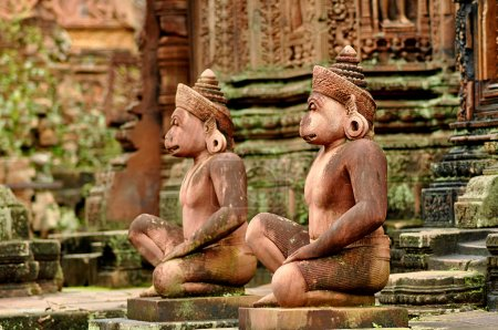 Gods sculptures at Banteay Srei, the temple of women, near Angko