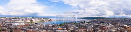 Panoramic view of city of Geneva, the Leman Lake and the Water