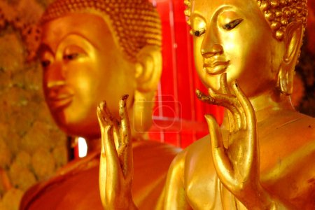 Photo pour Statues de Bouddha, Visage de Bouddha d'or, Thaïlande, Asie - image libre de droit