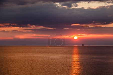 Beautiful Sunset and Dramatic Red Sky near Genoa in Italy