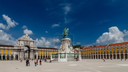 Statue of King Jose I and Rue Augusta Arch on Praca do Comercio