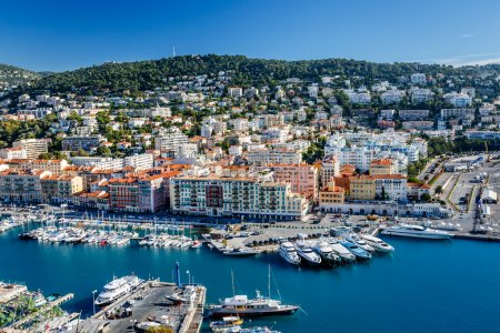 Photo for Aerial View on Port of Nice and Luxury Yachts, French Riviera, France - Royalty Free Image