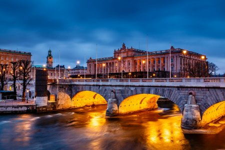 Riksdag Building and Norrbro Bridge in the Evening, Stockholm, S