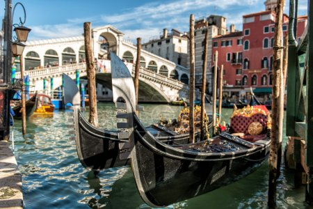 Rialto Bridge with Gondola in Venice