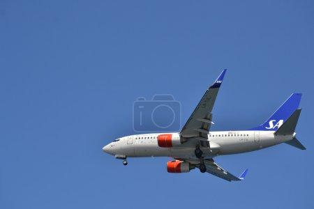 Scandinavian airlines plane in flight