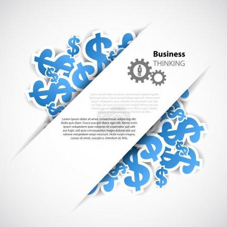 Illustration pour Contexte d'affaires avec symol d'affaires et de dollar - image libre de droit