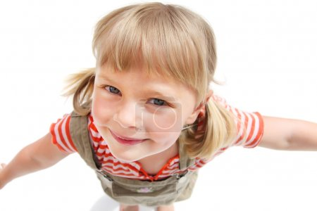 Photo pour Gros plan portrait d'une jolie petite fille. Isolé sur fond blanc . - image libre de droit
