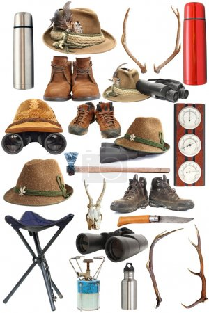 Photo for Large collection of hunting and outdoor traditional equipment over white background - Royalty Free Image