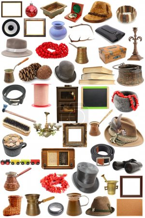 Photo for Big collection of vintage objects over white background - Royalty Free Image