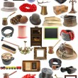 Big collection of vintage objects over white backg...