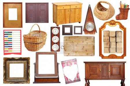 Photo for Collage with antique wooden objects isolated over white background - Royalty Free Image