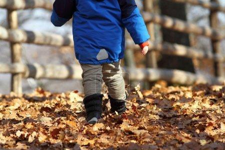 child walking on rural road