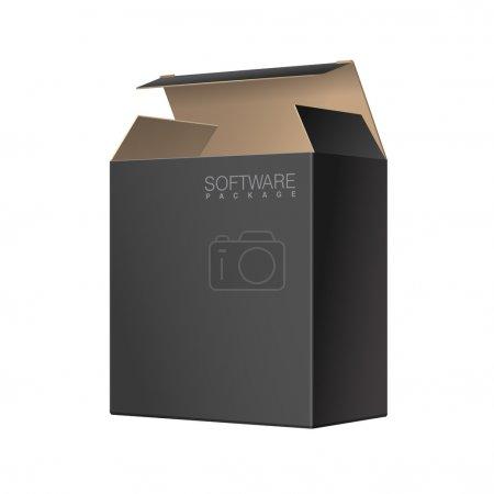 Illustration pour Emballage noir Boîte en carton ouverte. Pour les logiciels, appareils électroniques et autres produits. Illustration vectorielle - image libre de droit